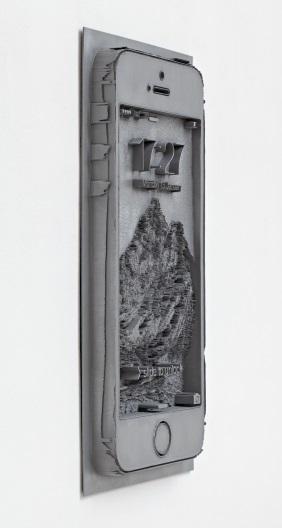 6. Spiros Hadjidjanos Displace (Smartphone), 2014 3D alumide print, aluminum coating 80 x 40 x 4.6 cm Future Gallery